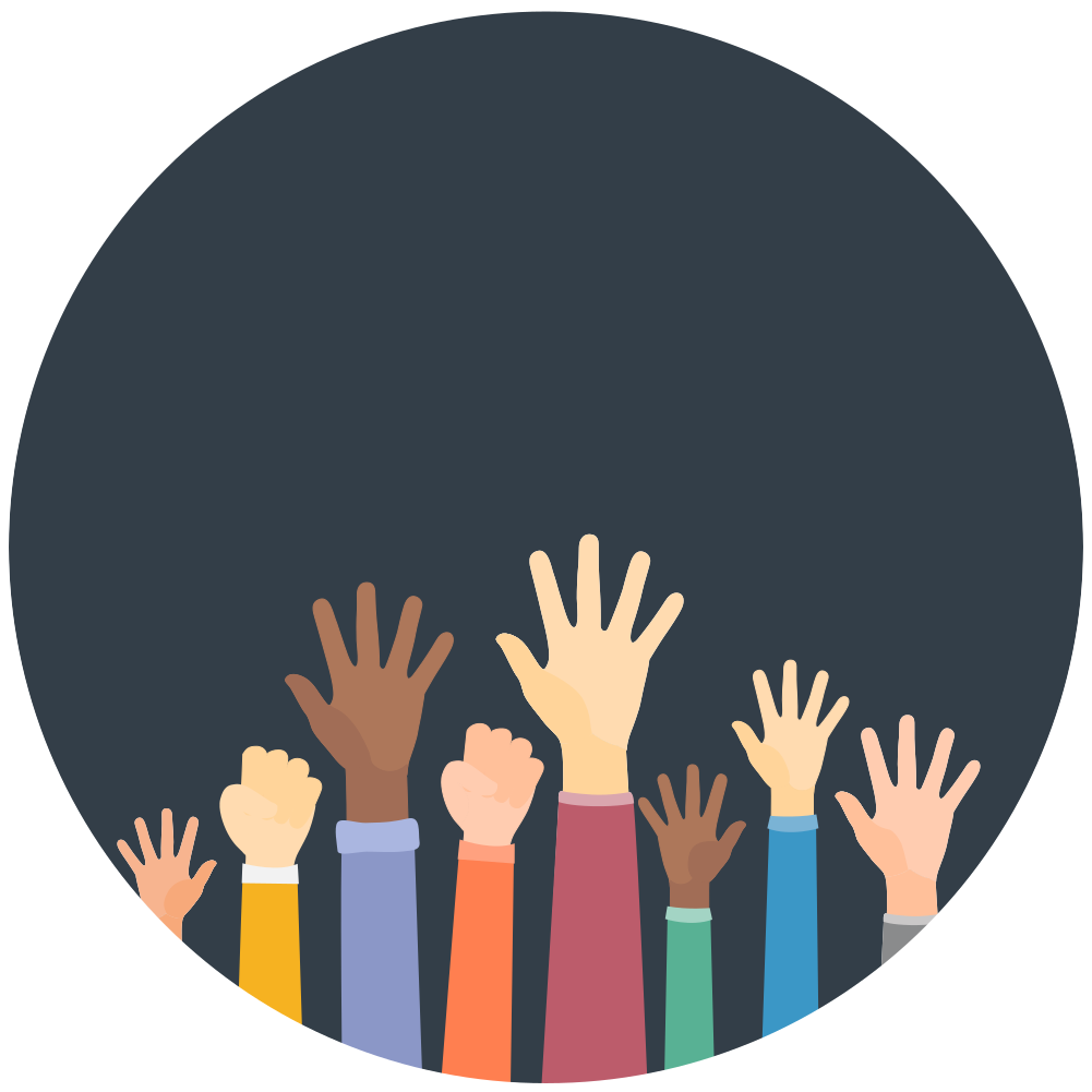 People raising hands. Sign up to participate in a BRL study.