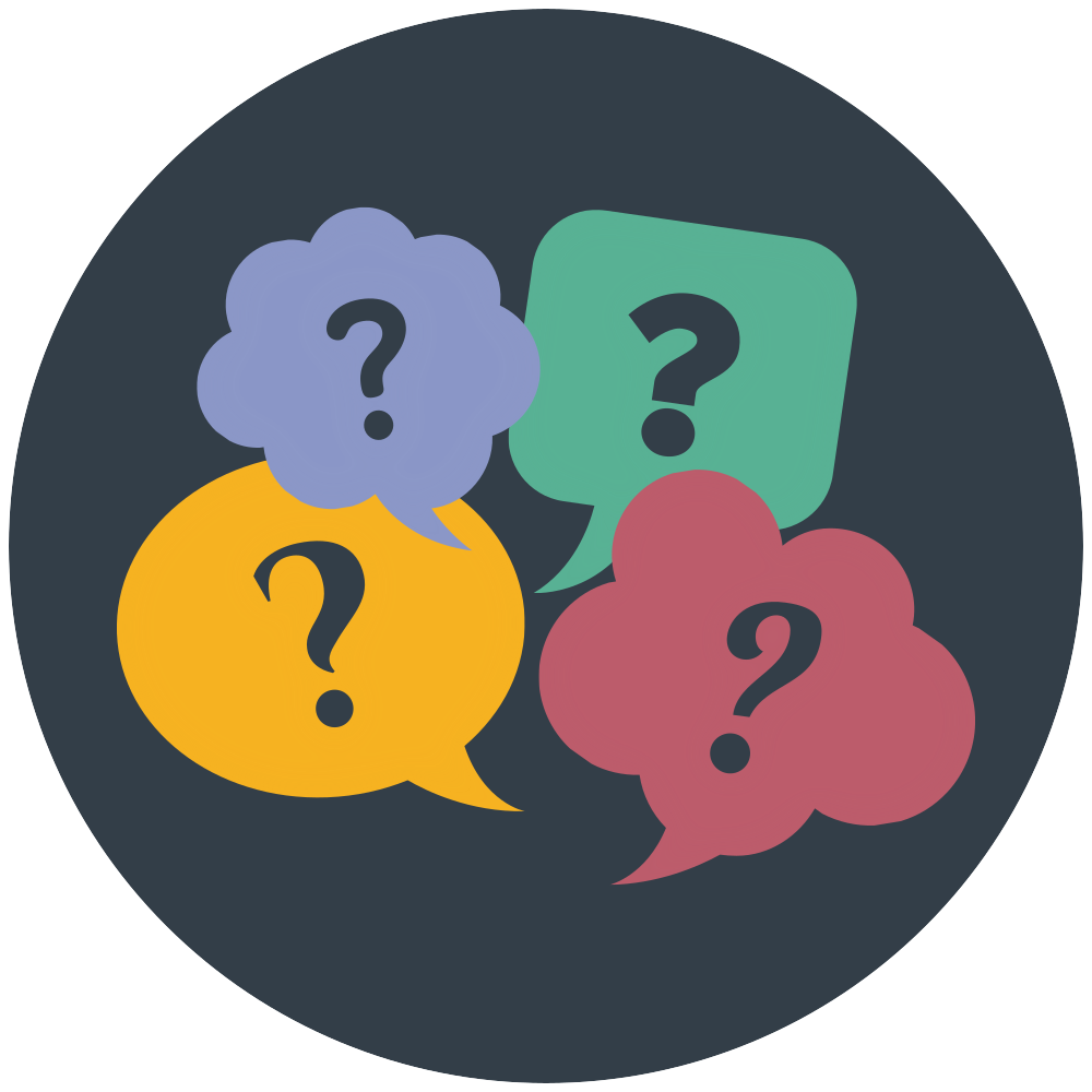 Speech bubbles with question marks. Review the answers to some frequently asked questions (FAQ) about participating in BRL studies.